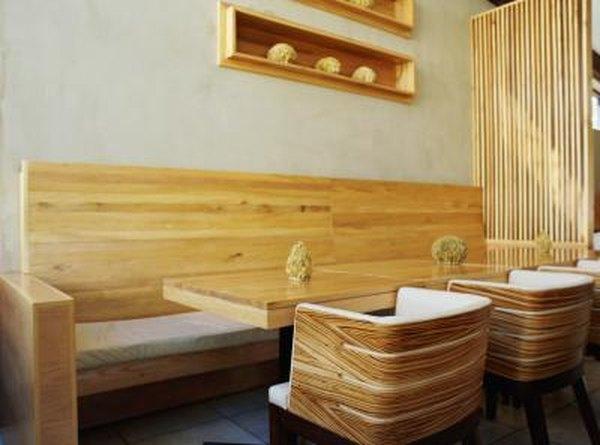 Wooden furniture in a restaurant.