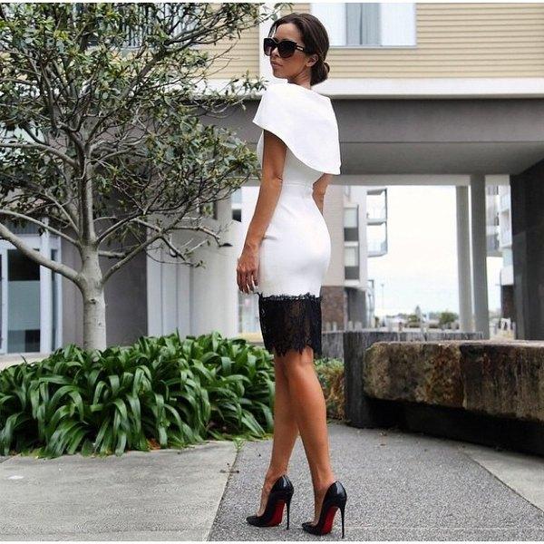 Si este año nuevo te encuentras en un hotel, ponte este hermoso vestido blanco con encaje negro.