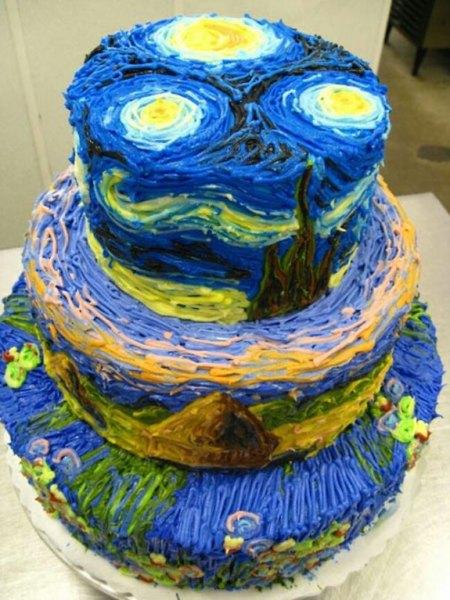 Este maravilloso pastel es un tributo a Vincent Van Gogh.