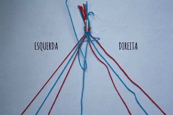 Use os dois fios centrais para unir os dois lados