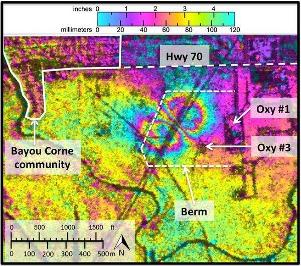 NASA radar imaging reviewed later shows the Bayou Corne sinkhole forming.