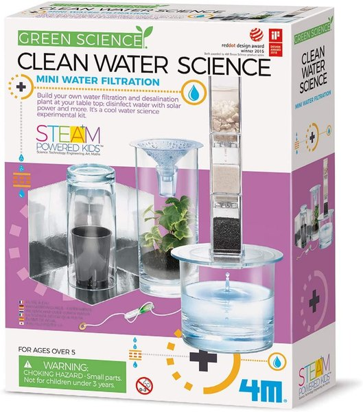 This mini water filtration kit will teach you about water management science.