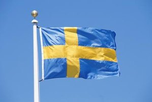 Swedish flag blowing in the wind.