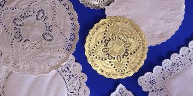 Stiffen crochet doilies with liquid starch or sugar water.