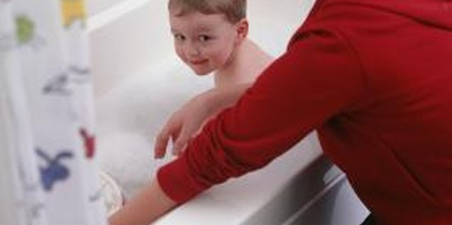 Keeping a toddler's arm dry during a bath can be difficult.