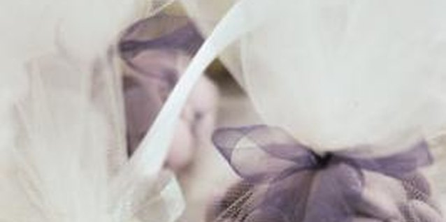 Brides often wrap birdseed or wedding favors in tulle.
