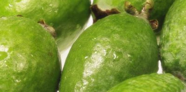 Guavas are a tropical fruit with sweet, sometimes acidic flesh.