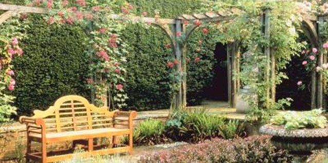 Garden furniture in simple or classical styles suit courtyard gardens' formal air.