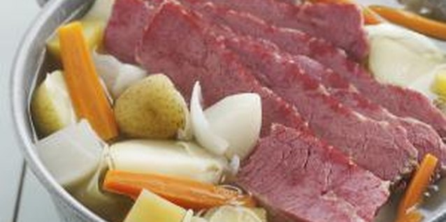 A traditional boiled dinner of corned beef, cabbage, potatoes and carrots.