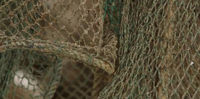 A fishing net provides nautical or seaside cottage decor for a room.