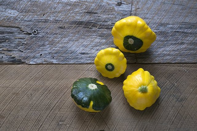 An overhead view of a random arrangement of four pattypan squash on a rustic wood surface