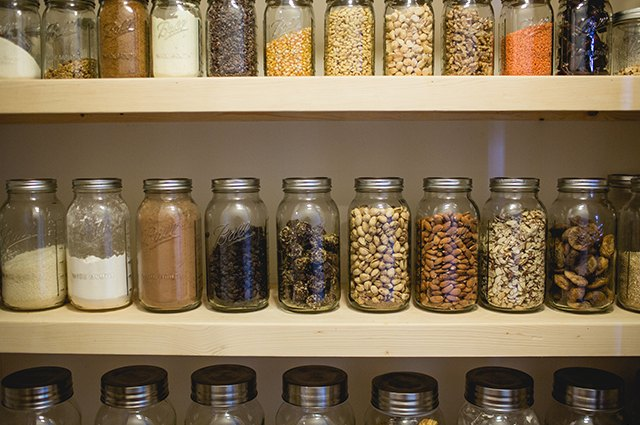 An image of food stored in mason jars.