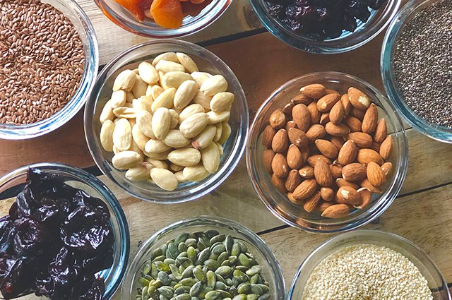 An image of dried nuts and seeds.