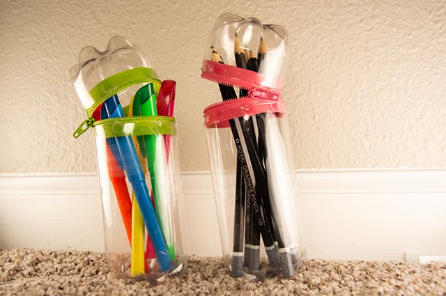 An image of no-sew zippered carrying cases made from plastic bottles.