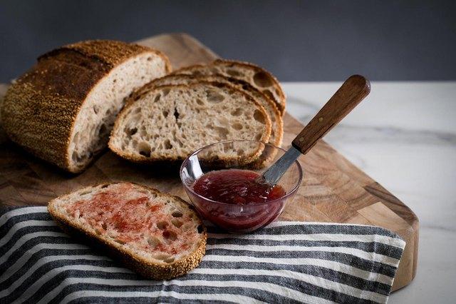 Bread slice with jam