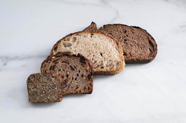 Various sliced bread overhead