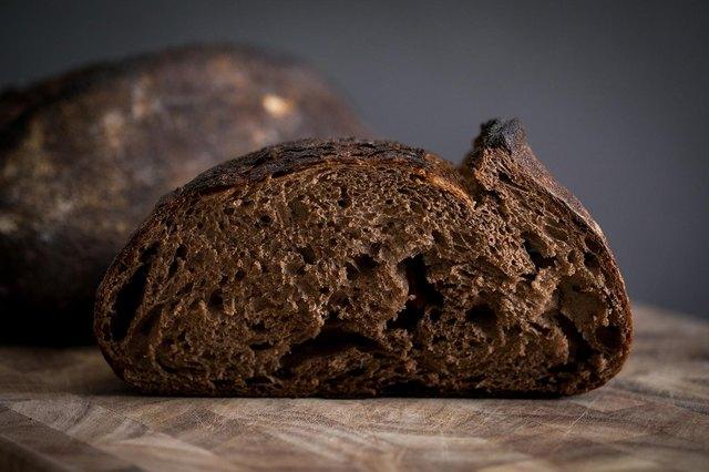 Closeup shot of a slice of dark bread