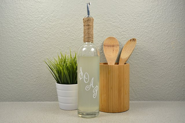 An image of the soap-dispenser wine bottle.