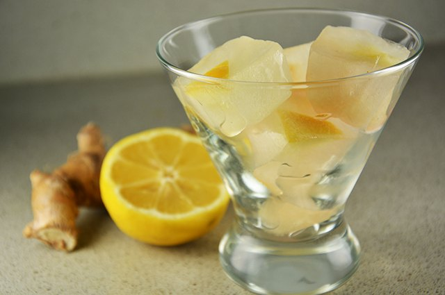An image of lemon-ginger ice cubes.