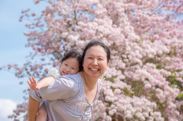 joyful woman and child