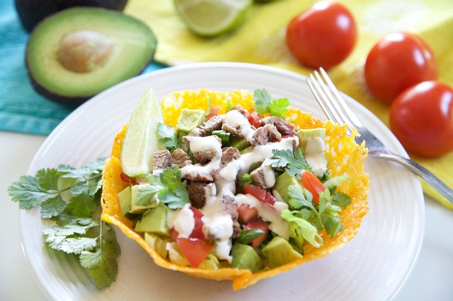 Taco Salad With Edible Cheddar Bowls