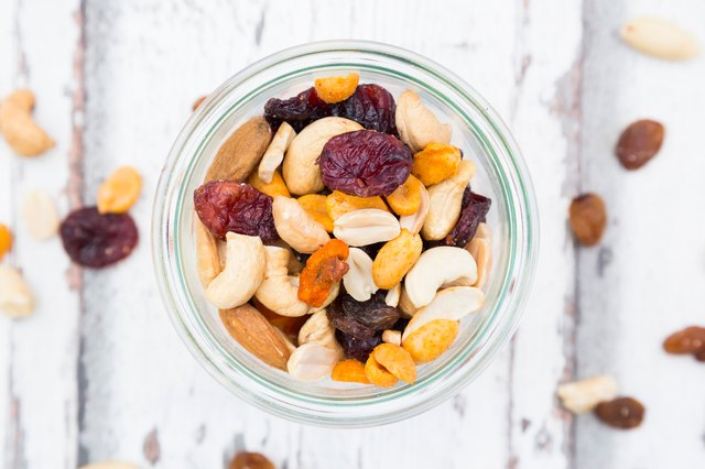 Cup of Natural Trail mix with cashews, peanuts, cranberries