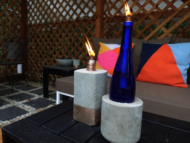 DIY concrete tabletop bottle torches