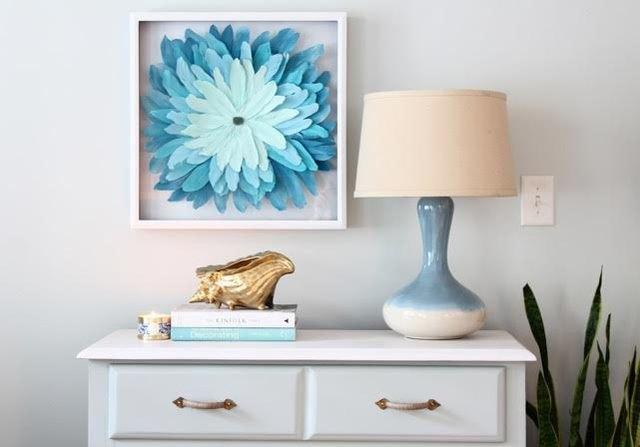 DIY JuJu inspired artwork hangs above a bedroom dresser