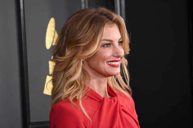 Faith Hill in red dress at Grammys