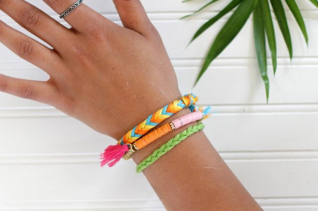 Easy to make mosquito repellent bracelets in fun summer colors