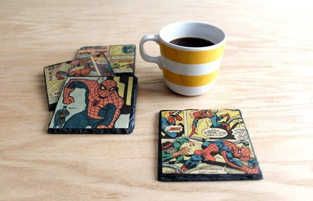 decoupage vintage comic book slate coasters