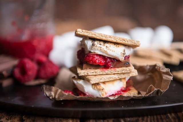 Unconventional s'mores made with added raspberries
