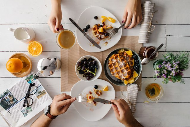 waffles, fruit and tea for breakfast