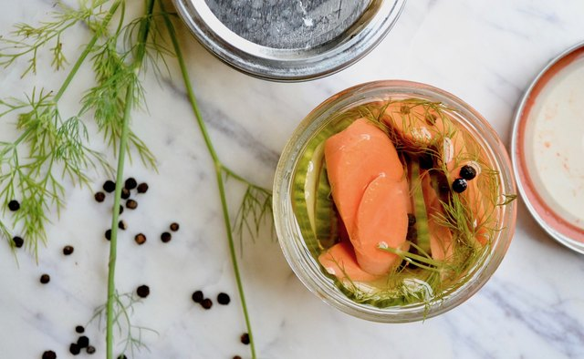 Pickled Carrots and Cucumbers With Fresh Dill and Black Peppercorns