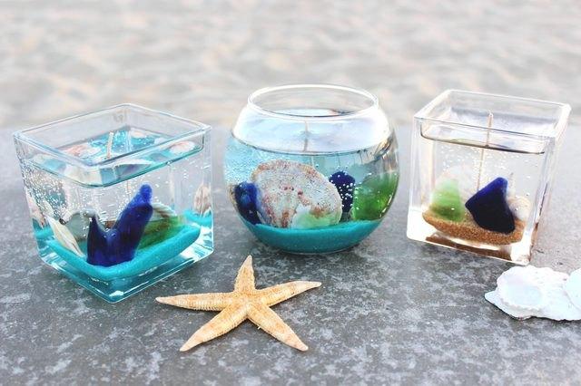 DIY ocean themed candle trio