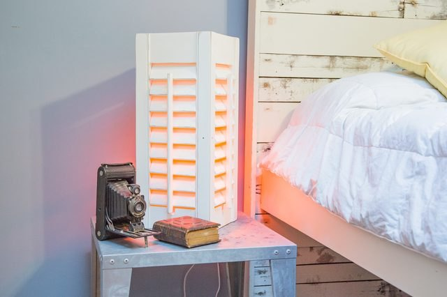 Side table lamp made from wooden shutters