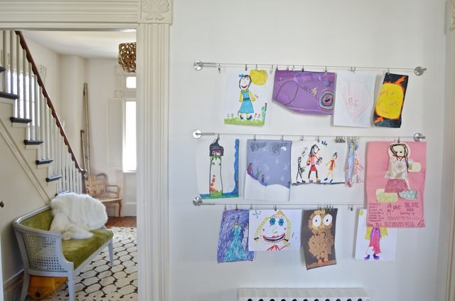 Home gallery made to display kids' art