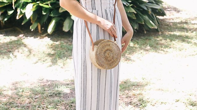 Perfectly practical for summer straw shoulder bag