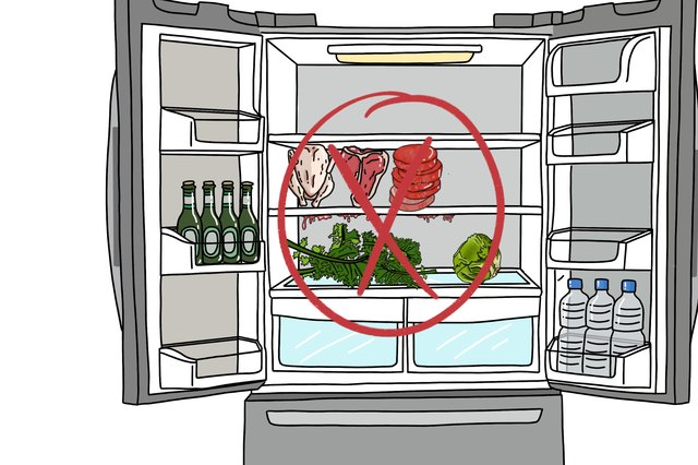 Open refrigerator with raw meat above produce