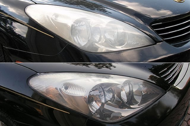 Car headlights before and after cleaning