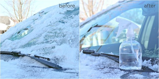 Before: ice; after: no ice on car windshield