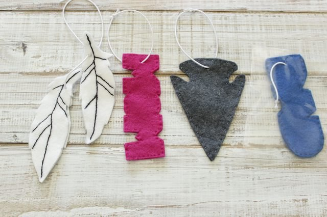 Homemade car air freshener in fall shapes