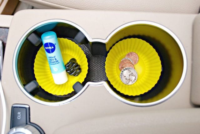 Silicon cupcake liners used as car cup holder catch-alls