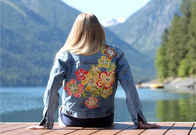 Denim jacket emblazoned with a fun floral print