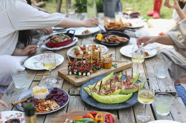 Outdoor dining barbecue with friends