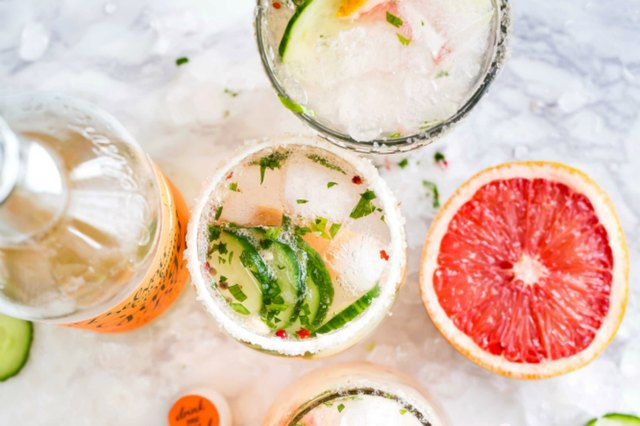 Drinks from overhead with grapefruit