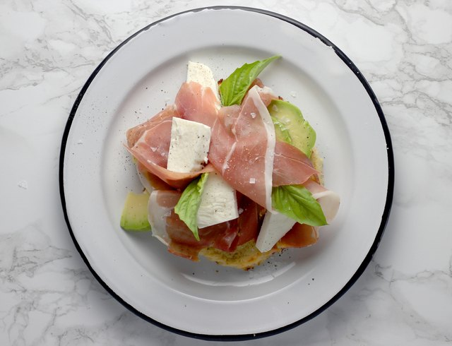 Prosciutto mozzarella avocado toast on cauliflower bread