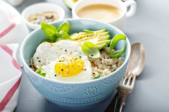 Savory oatmeal with egg and avocado