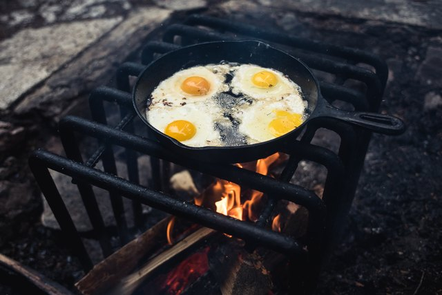 High Angle View Of Food On Campfire
