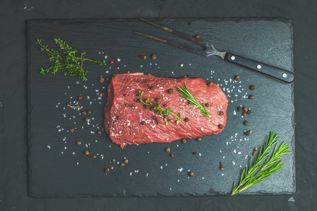 Fresh raw meat beef steak with ingredients for cooking spices